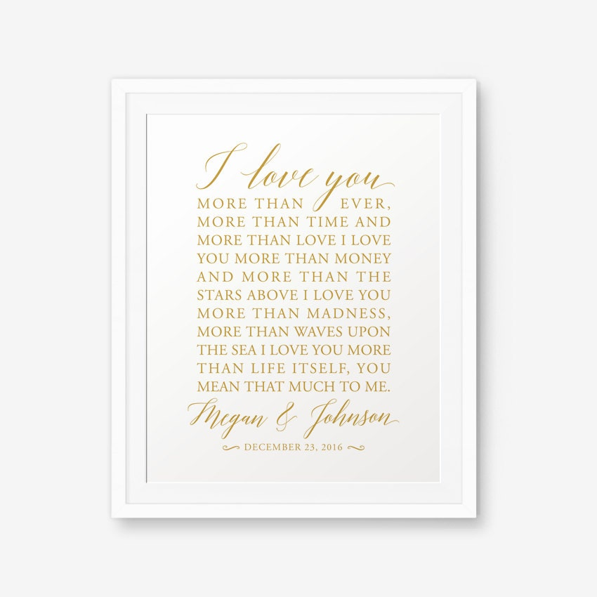 Personalized Wedding Sign Gold Color Bob Dylan Song
