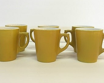 Buffalo China Coffee Cups Coffee Mugs Classic Mustard Yellow Restaurant Grade Diner Style 7 SETS OF 6 AVAILABLE