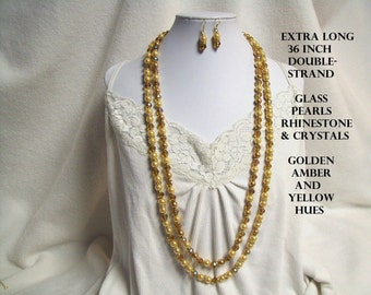 Extra Long Yellow Necklace