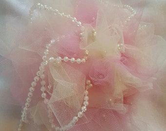 Pomander Wedding Kissing Balls Pearls and Tulle Bridal Party Flower Girl Bride Bouquet - Set of 10!