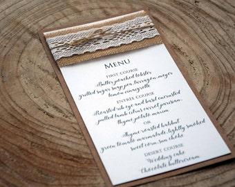 Rustic Wedding Dinner Menu, Wedding Dinner Menu, Wedding Menu, Bridal Shower Menu, Rustic Lace Wedding Menu, Burlap Wedding Menu - PACK of 5