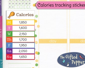 Daily calorie count tracker stickers [Printable]. Food, diet, weight loss, health, log, week. For Erin Condren Planner. Stickers.