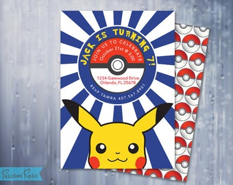 POKEMON Birthday Invitation - Boys Birthday - Kids, Pikachu, Modern, Customizable, Boy Birthday Party Invitation