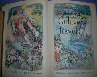 Antique Book - Gulliver's Travels by Jonathan Swift - Illustrated Vintage Book - 1945