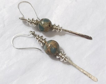 African opals quartz sterling silver dangling earrings handmade with sterling silver beads and sterling silver wire