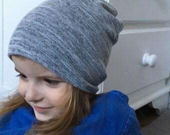 Slouchy Beanie / baby beanie hat / grey jersey knit hat / toddler beanie / kids beanie / hipster baby