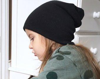 Slouchy Beanie / baby beanie hat / plain black jersey knit hat / toddler beanie / kids beanie / hipster baby