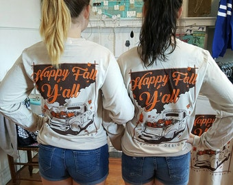 Happy Fall Y'all Shirt, Monogrammed Fall Shirt, Long Sleeve Monogrammed Fall Shirt