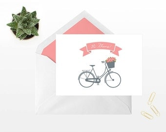 Hi There Bicycle and Flowers Printable Greeting Card Digital Download Stationary