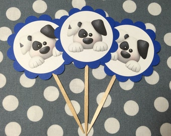 Puppy Cupcake Topper - Puppy Cupcake Pick - Dessert Table - Photo Prop - Puppy Birthday - Puppy Baby Shower - Dog - Bone - Bow Wow