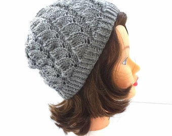 PDF PATTERN DOWNLOAD for cute knitted hat, unique lacy design.