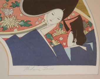 Miharu Lane Signed Limited Edition Lithograph Titled Joy of Meeting Large Japanese Style Sensual Romantic Lithograph 23/350