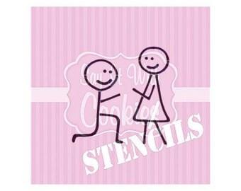 """Proposal Engagement Stick Figures 5.5 x 5.5"""" Stencil"""