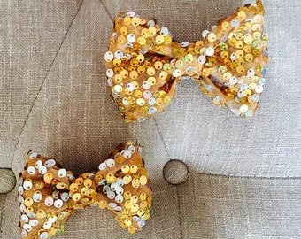 Gold Sequin Hair Bow!
