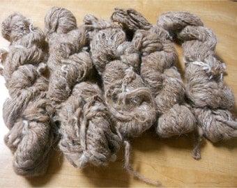 Handspun 100% Llama Art Yarn Brown and White Karlin (One Skein)