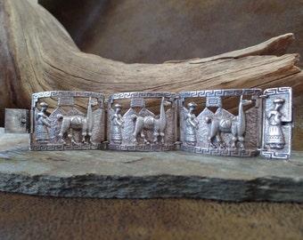 Vintage Silver Peruvian Story Panel Bracelet
