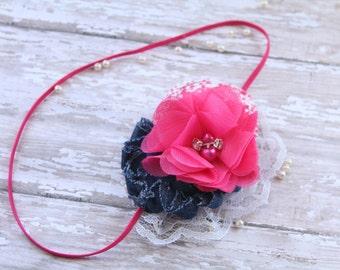 "Rolled Rosette Headband, denim shabby headband, toddler hair accessory, photo prop, chiffon flower headband ""Pop of Pink"" headband"