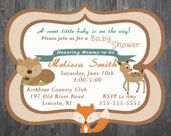 Woodland Creatures Baby Shower Invitation-  Digital - You Print