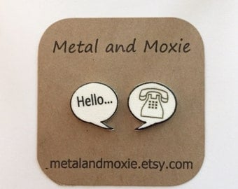 Hello and Telephone Speech Bubble Stud Earrings, Under 10 Dollars Jewelry Gift