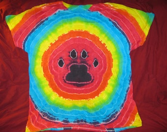 Paw Print Rainbow 2XL Tie Dye Tshirt