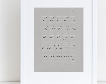 Guitar Chord Music Print, minimalist music art print for guitarists, musicians, music lovers, songwriters