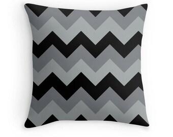 Black Gray Chevron Pillow, Gray Chevron Throw Pillow, Gray Decorative Pillow, Gray Toss Pillow, Black Chevron Pillow, Black and Gray Pillow