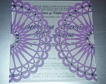 Gate invitation for XV Sweet 16 Wedding whit rhinestones