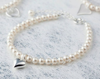 Pearl charm bracelet, pearl bracelet, bridesmaid gift, gifts for her, wedding bracelet, silver bracelet, heart bracelet, wedding gifts