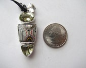 Fordite and citrine pendant