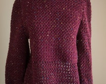5.00 shipping!  Hand Knit Crocheted Sweater Womens Large or XL / Handknit Vintage Mock Turtleneck in Marled Burgundy Knit / Womens XL