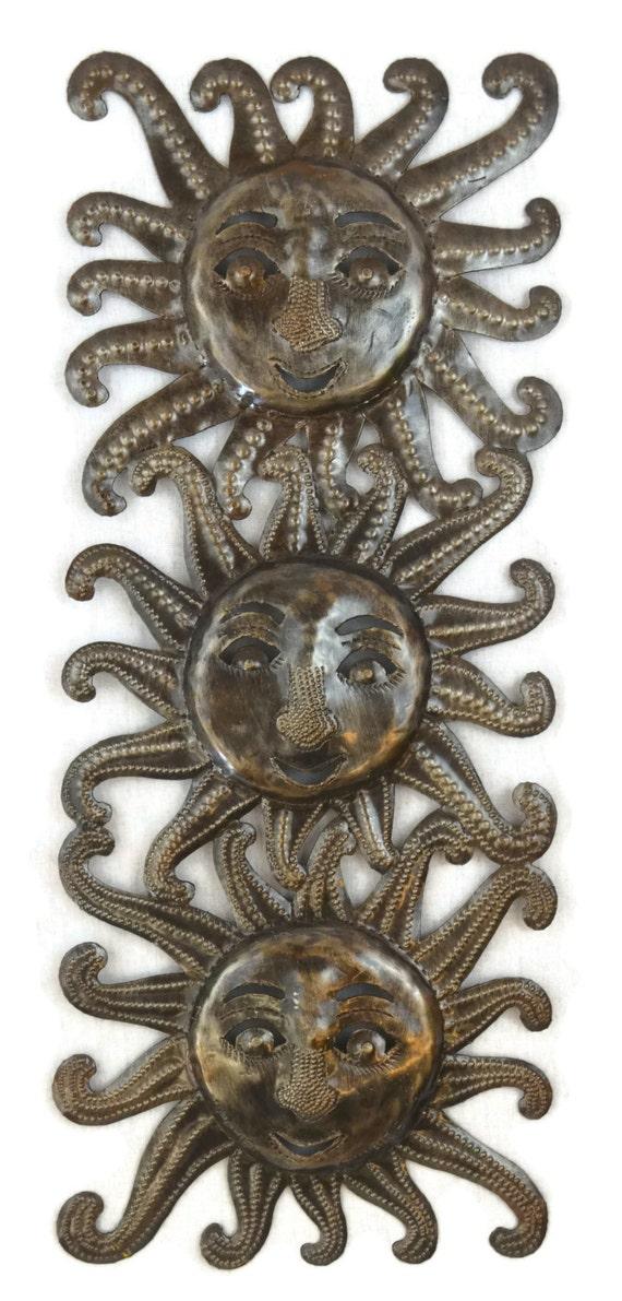 "Trois Soleils Three Suns, Haitian Garden Decor 6"" x 17"""