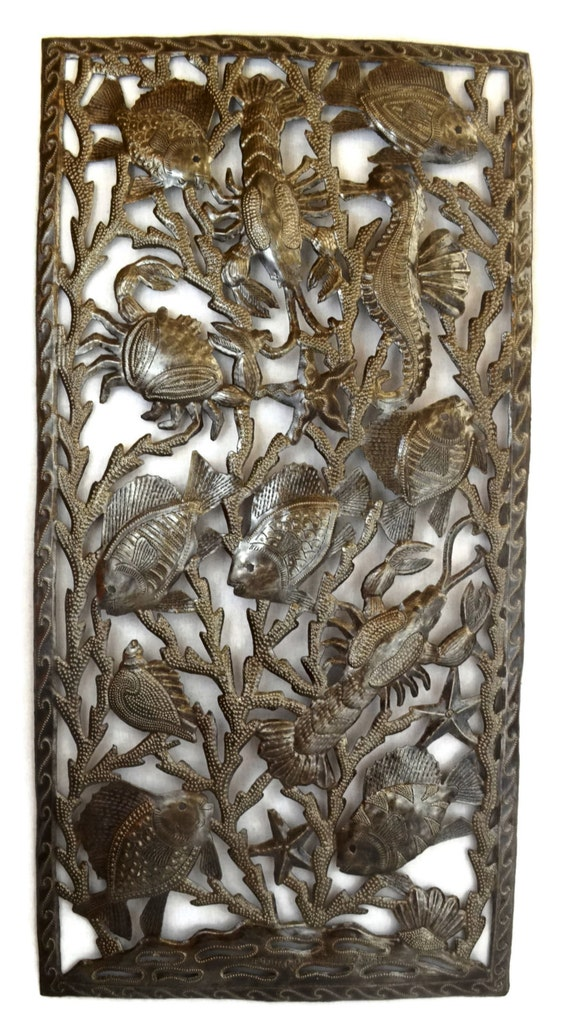 "Deep Sealife Wall Sculpture, Crab, Lobster, Seahorse, Shells, Starfish, and Fish 17.25"" X 34.25"""