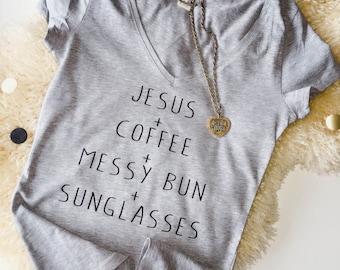 T-shirt '+' christian christelijk Jesus God coffee summer shirt