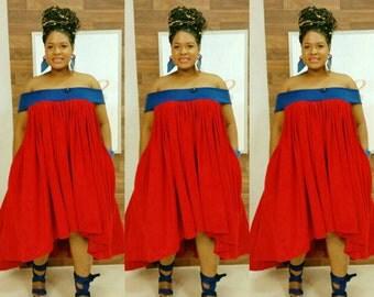 Curvyswan amazing cold shoulder or off shoulder free flowing high low dress.