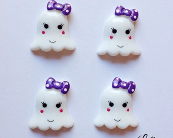 5 adorable ghost halloween cabochons flatbacks - C118