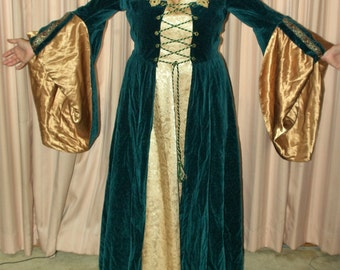 Renaissance medieval-style gown Custom-made one of a kind