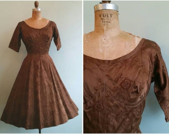 Vintage 1950s Bronze Embroidered Party Dress  | Size Small/Medium