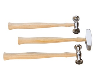 Set of Three Texturizing Metal Forming Hammers Jewelry Tool - HAM-460.90