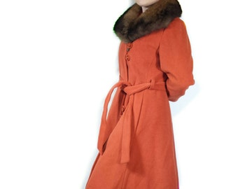 Vintage 1970s Rabbit Fur Trim Orange Wrap Coat, ILGWU Union Made, Wn's Sz Small