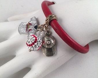 Baseball Cardinal Swarovski Leather Bracelet