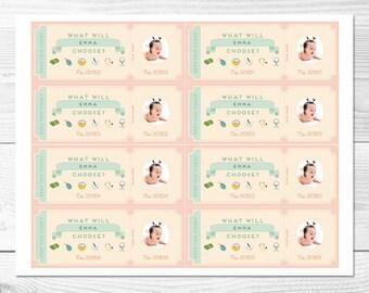 Custom Doljabi Raffle Ticket 64 count - Baby Girl First Birthday (Peach and Mint) *DIGITAL FILE*