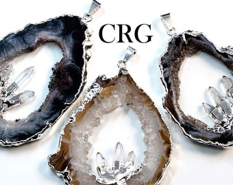 Large Silver Plated Geode Slice Pendant w/ 3 Fixed Quartz Points (GD19BT)