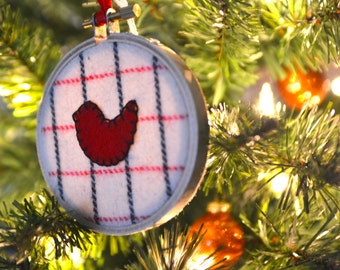 Red Bird and Plaid Ornament