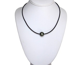 14-15mm Authentic Tahitian Black Pearl 2mm Leather Cord Necklace