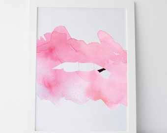 "Printable Art ""Abstract Lips Two"" Abstract Lips Print Pale Pink Lips Art Pale Pink Art Gallery Wall Art Gallery Wall Prints Chic Prints"