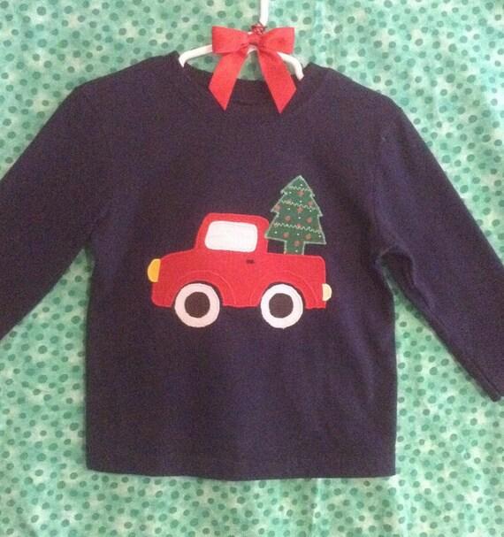 Toddler Boy's Christmas Tree Truck appliqué  t-shirt