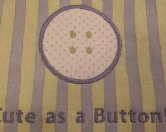 """Baby Bib """"Cute as a Button!"""""""