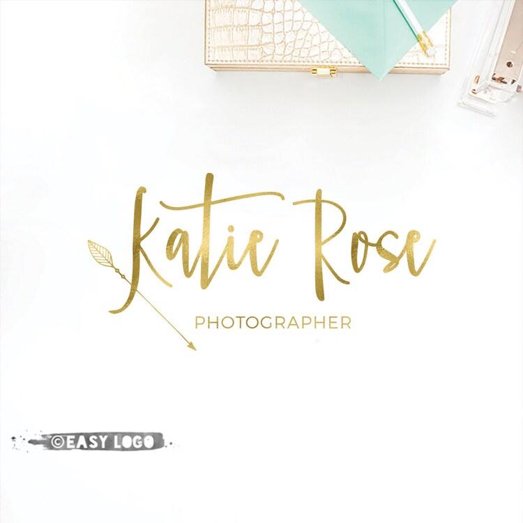 Boho logo arrows design gold calligraphy by
