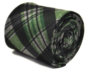 navy and green checked tweed wool tie by Frederick Thomas FT2142