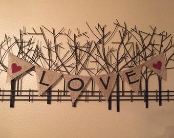 LOVE Burlap Banner w/hearts - Customize!
